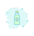 cartoon water bottle icon in comic style bottle vector image