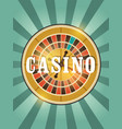 casino vintage style poster with roulette vector image
