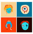 colorful zombie scary cartoon character cards vector image vector image