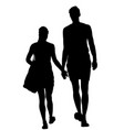 couple in love walking holding hands silhouette vector image vector image