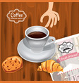 cup of coffee morning concept on wooden vector image