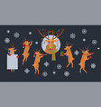 cute christmas reindeer characters set vector image
