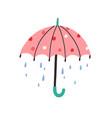 cute umbrella with falling rain drops in doodle vector image vector image