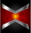Dark tech design with metallic arrows vector image vector image