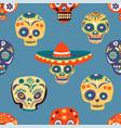 dia de los muertos skulls seamless pattern vector image