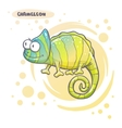Drawn Cartoon Chameleon vector image