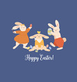 eastern greeting card with funny rabbits and happy vector image