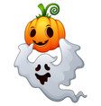 halloween ghosts holding a pumpkin vector image