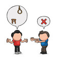 hand-drawn cartoon of men with speech bubble vector image