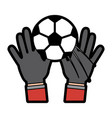 hands with ball football soccer icon image vector image vector image