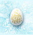 happy easter lettering on the watercolor wreath vector image