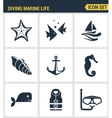 Icons set premium quality of diving marine life vector image vector image