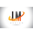 lm l m letter logo with fire flames design and vector image vector image