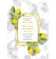 marble wedding invitation card with lemon brunches vector image vector image