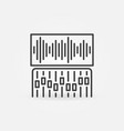 mixer or controller and sound wave outline vector image