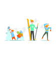 people performing winter activities warmly vector image vector image