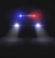police car headlight beams isolated on dark vector image vector image