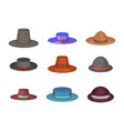 porkpie hat icon set cartoon style vector image vector image