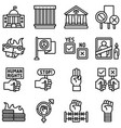 protest related icon set 4 line style vector image
