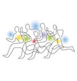 running race competition line art stylized vector image vector image