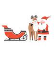 santa claus hugging reindeer christmas characters vector image