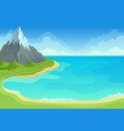 sea bay with green shore and sandy edge vector image vector image