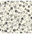 Seamless pattern with cat paw prints fish bone vector image
