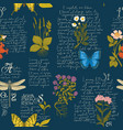 seamless pattern with hand-drawn herbs and insects vector image vector image