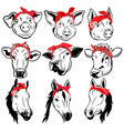 set farm animals in bandanas collection of vector image