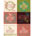 Set happy birthday hand lettering calligraphy vector image