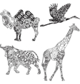 Set of animals in the ethnic ornament vector image