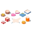 set opened different presents and gifts boxes vector image