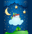 surreal landscape with moon stars village and vector image vector image