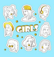 teenager fashion 80s-90s golden badges patches vector image vector image