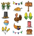 Thanksgiving element set of doodle vector image vector image