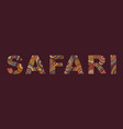 the inscription of safari in ethnic style vector image vector image