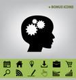 thinking head sign black icon at gray vector image vector image