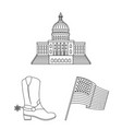 usa country outline icons in set collection for