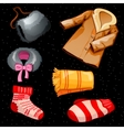 Warm winter clothes for boys and girls six items vector image vector image