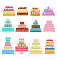 wedding cake pie sweets dessert bakery flat simple vector image