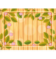 wooden background with flower frame vector image vector image
