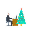 work for christmas businessman at work and vector image vector image