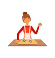 young woman making pastry housewife girl cooking vector image vector image