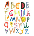 Funny alphabet for kids with faces vegetables vector image
