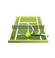 3d green tennis court with net racket and ball vector image