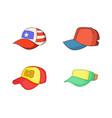 baseball cap icon set cartoon style vector image vector image