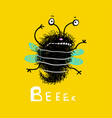 bee cute fluffy doodle cartoon vector image vector image