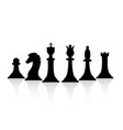 black chess pieces set chess strategy and tactic vector image vector image