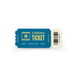 blue cinema ticket isolated on white background vector image