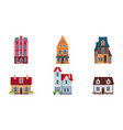 building facades set buildings houses cottages vector image